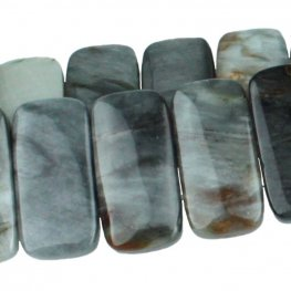 Stone Beads - 20x10mm Double Drilled Rectangle - Cat's Eye (strand)