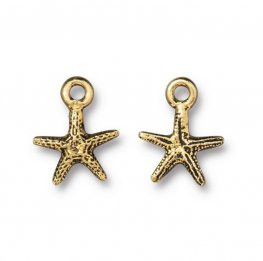 Charm - Tiny Sea Starfish - Antique Gold