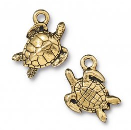 Charm - Sea Turtle - Antique Gold