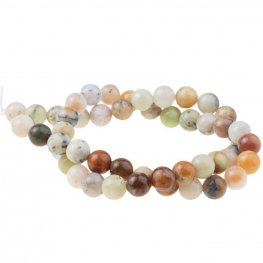 Stone Beads - 8mm Round - Golden Sage Agate (strand)