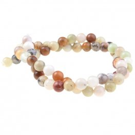 Stone Beads - 6mm Round - Golden Sage Agate (strand)
