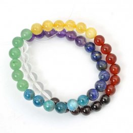 Stone Beads - 8mm Round - Chakra Selection Mixed Stones (strand)