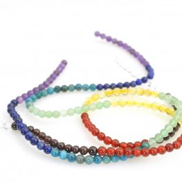Stone Beads - 4mm Round - Chakra Selection Mixed Stones (strand)