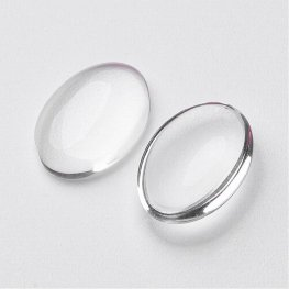 Glass Cabochon - 18x25mm Oval - Clear (10)