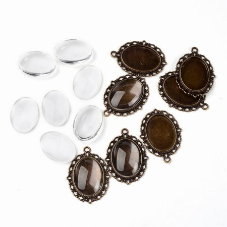 Glass Cabochon with Base - 18x25mm Oval - Clear - Antique Bronze (2 sets)