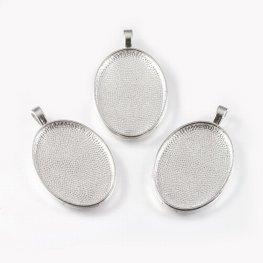 Glass Cabochon with Base - 21x29mm Oval - Clear - Silver (2 sets)