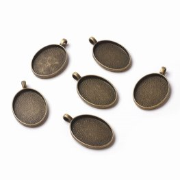 Glass Cabochon with Base - 21x29mm Oval - Clear - Antique Bronze (2 sets)