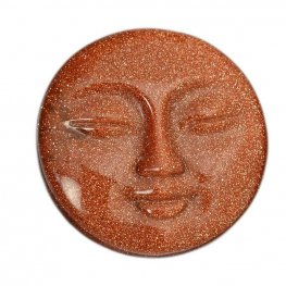 Cabochon - 30mm Sleeping Moon Face - Goldstone