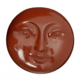 OOAK - Cabochon - 30mm Moon Face - Brick Red