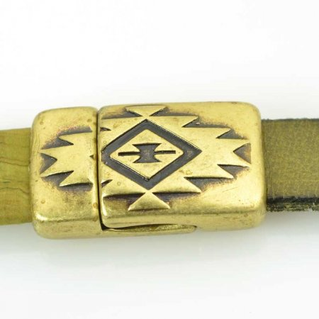Findings - 10mm Flat Leather - Southwestern Style Magnetic Clasp - Antiqued Brass