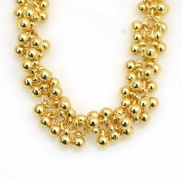 Chain - 5mm Multi Ball Charm - Bright Gold Plated (Inch)