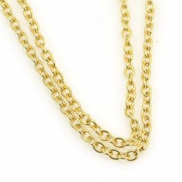 Chain - 2.5mm Round Wire Cable Chain - Plated Gold (foot)