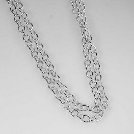 Chain - 2.5mm Round Wire Cable Chain - Bright Silver (foot)