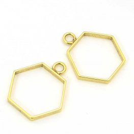 Open Bezel / Frame - Small Hexagon Pendant - Bright Gold Plated