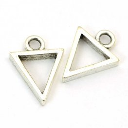 Open Bezel / Frame - Mini Triangle Pendant - Antiqued Silver