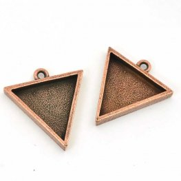 Resin Bezel Tray - Large Triangle Pendant - Antiqued Copper