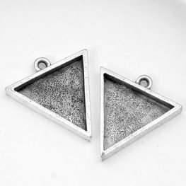Resin Bezel Tray - Large Triangle Pendant - Antiqued Silver
