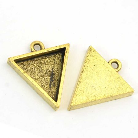 Resin Bezel Tray - Small Triangle Pendant - Antique Gold