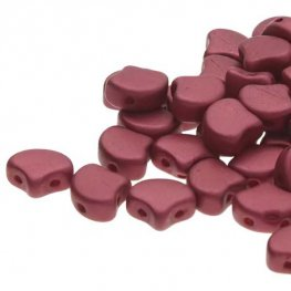 Czech Shaped Beads - 2-Hole Ginko - Chatoyant Shimmer Red Wine