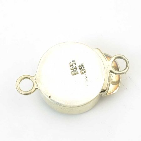 Box Clasp Round Molded Glass - Crystal AB - Sterling