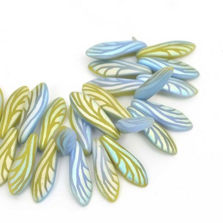 Fringe Beads Dagger Beads 16mm - Matte Sapphire Chartreuse Laser Wing (25)