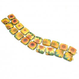 Decoupage Picture Beads - 20mm Square - Sunflowers (strand)