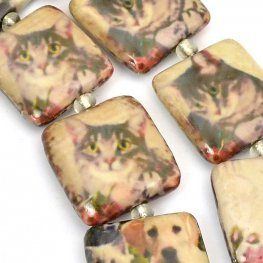 Decoupage Picture Beads - 20mm Square - Kittens (strand)