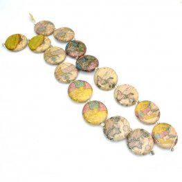 Decoupage Picture Beads - 30mm Coins - World Maps (strand)