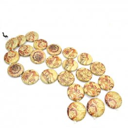 Decoupage Picture Beads - 30mm Coins - Sepia Sketches (strand)