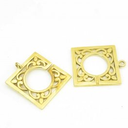 C Clasp - Square Filigree - Gold Plated