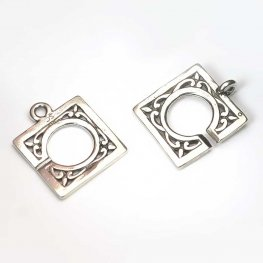 C Clasp - Square Filigree - Sterling Silver