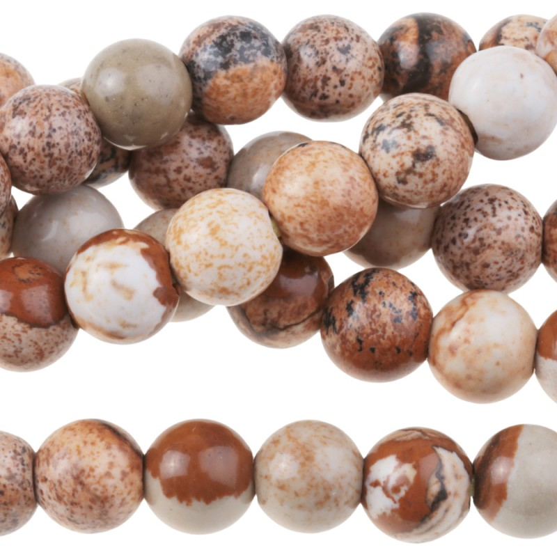 Stone Beads - 8mm Big Hole Round - Picture Jasper (strand)