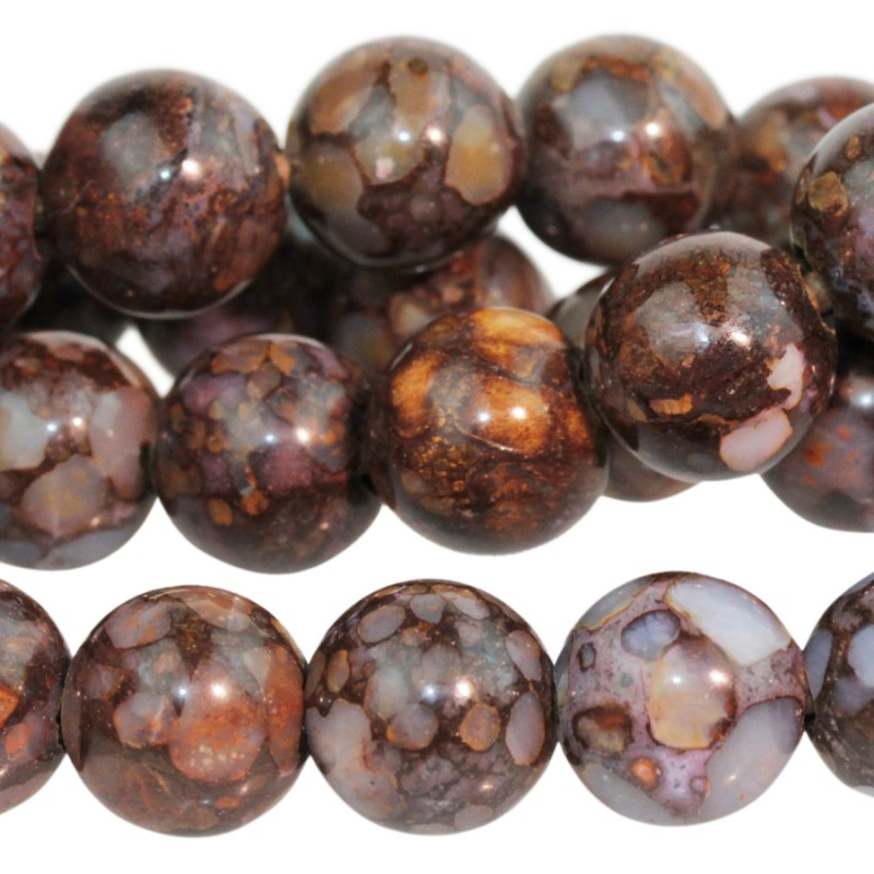 Stone Beads - 10mm Big Hole Round - Fire Opal (strand)