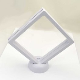Display Stands - 4in Square Floating Display Box Frame - White
