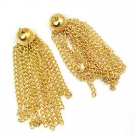 Components - 40mm Bell Cup Chain Tassel - Gold Plated (Pair)