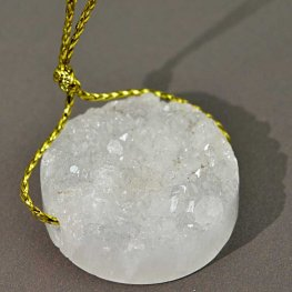 Stone Pendant - 26mm Druzy Quartz Crystal Coin Disk Pendant - Crystal