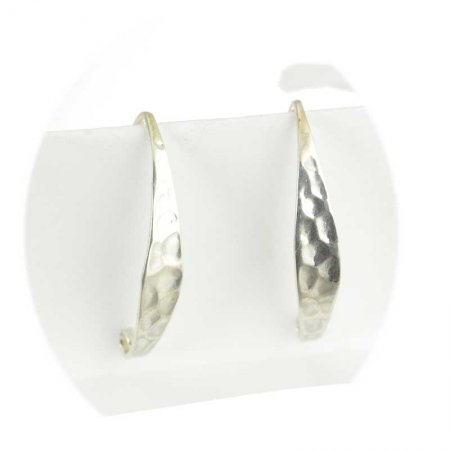 Earring - 27mm Hammered Curve Earwire - Bright Sterling