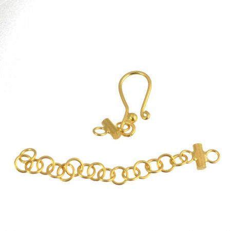 Hook and Eye Clasp - Hook and Chain Single Strand - Vermeil