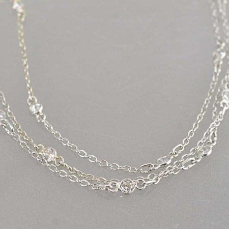 Chain - Cable Chain with Crystal Links - Crystal - Silver Plated (foot)