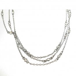 Chain - Cable Chain with Crystal Links - Crystal - Gunmetal (foot)