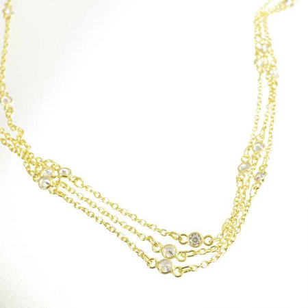 Chain - Cable Chain with Crystal Links - Crystal - Bright Gold Plated (foot)