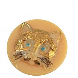 Czech Glass Button - Rum Tum Tugger Cat - Ivory with Gold (2)