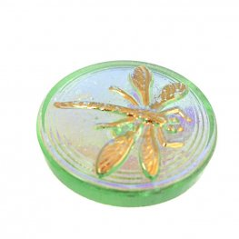 Czech Glass NOT A Button Cabochon - Embossed Dragonfly - Pale Emerald