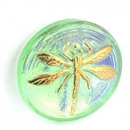 Czech Glass NOT A Button Cabochon - Embossed Dragonfly - Light Emerald