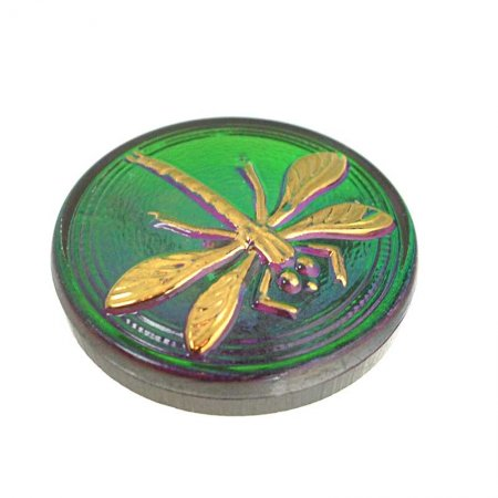 Czech Glass NOT A Button Cabochon - Embossed Dragonfly - Emerald