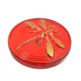 Czech Glass NOT A Button Cabochon - Embossed Dragonfly - Siam
