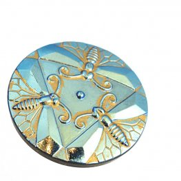 Czech Glass Button - Trio of Bees - Metallic Turquoise