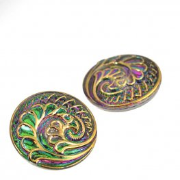 Czech Glass Button - Paisley Spiral - Fuchsia / Green