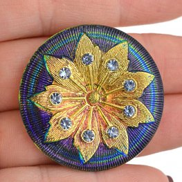 Czech Glass NOT A Button Cabochon - Flower with Rhinestones - Blue & Gold