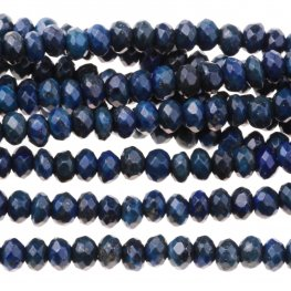 Stone Beads - 4mm Faceted Rondelles - Lapis (strand)